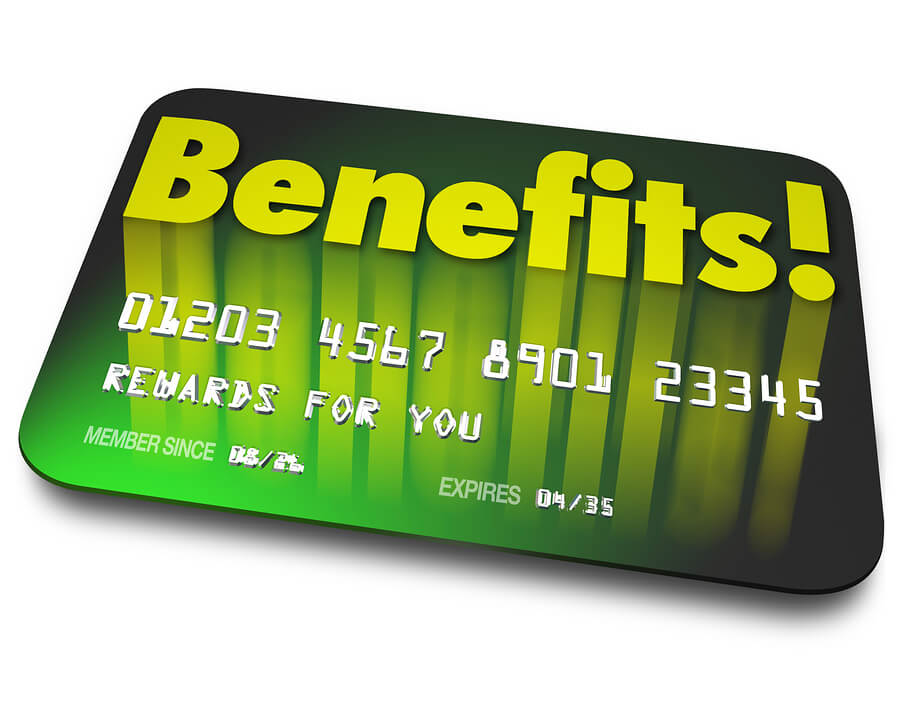 Benefits word on a green credit card to illustrate shopper loyal