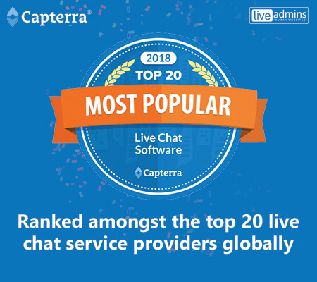 LiveAdmins Named in Capterra's Top 20 Most Popular for Live Chat Software