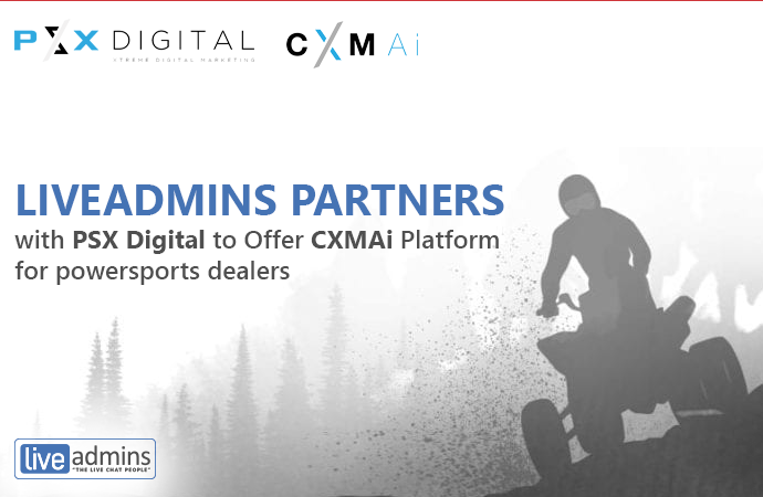 LiveAdmins Partners with PSX Digital to Offer CXMAi Platform for powersports dealers